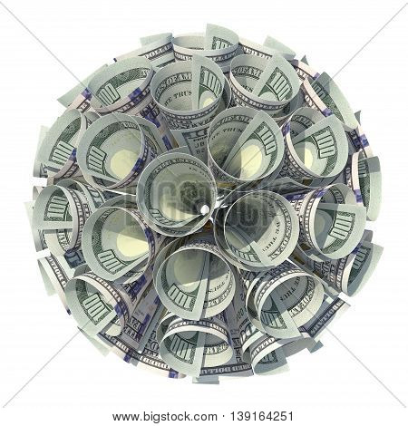 3D. Moneys ball. Finance. Business. Moneys Many hundred dollar banknotes.