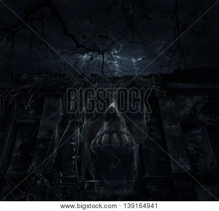 Human skull blend with old ancient castle over dead tree and cloudy sky Spooky background Halloween concept