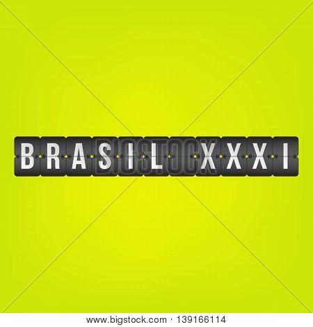 Brasil XXXI scoreboard white black and green destination vector