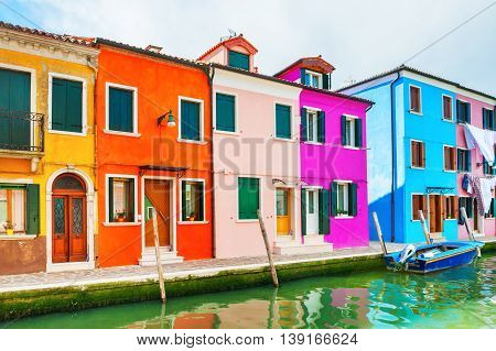 Scenic Canal With Colorful Houses