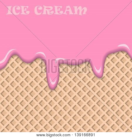 Pink fruit ice cream with vanilla wafer vintage abstract. Vector illustration