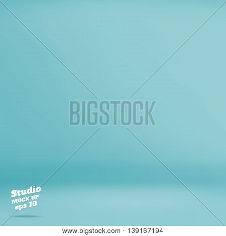 Vector :empty Pastel Turquoise Studio Room Background ,template Mock Up For Display Of Product,busin