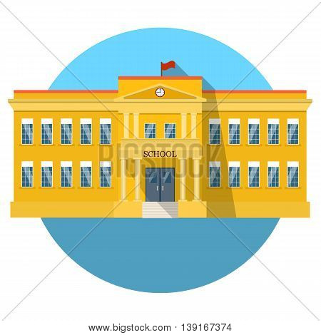 School building flat icon with long shadow. vector illustration in flat style