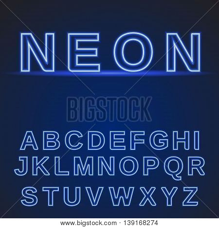 neon alphabet. Glowing font on a dark blue background. Vector illustration