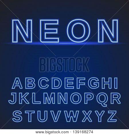 neon alphabet. Glowing font on a dark blue background. Vector illustration