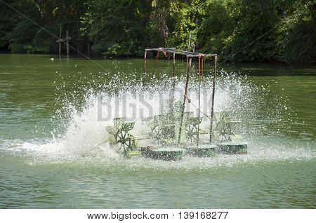 Water turbines in the pond in thailand
