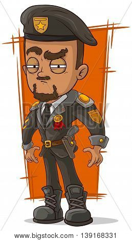 A vector illustration of cartoon army general with beret