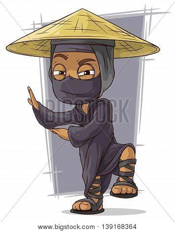 A vector illustration of cartoon black kung fu ninja in mask