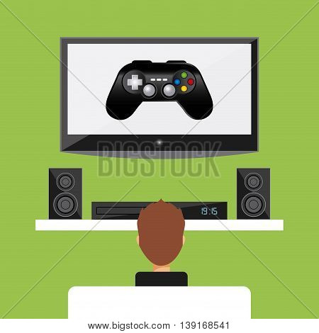 Video game concept represented by tv speaker boy and control icon. Colorfull and flat illustration.