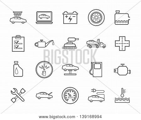 Vector icons of auto repair shop services. Dark grey linear image on a white background.