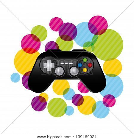 Video game concept represented by control with striped circles icon. Colorfull and flat illustration.