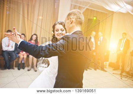 First Wedding Dance On Smoke Of Wedding Couple At Restaurant