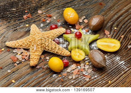 ripen fruits on wooden table