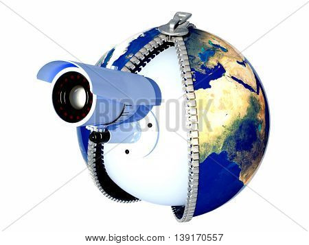 Web camera on the model of the globe.3d render