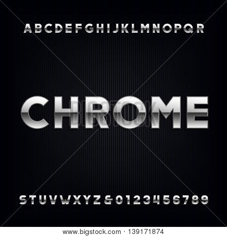 Chrome alphabet. Type letters and numbers with metallic effect. Vector font.