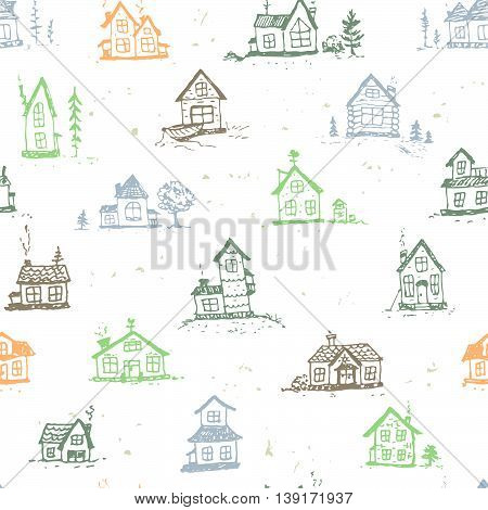Beautiful seamless pattern with doodle houses. Hand drawn sketch. Stylish vector illustration