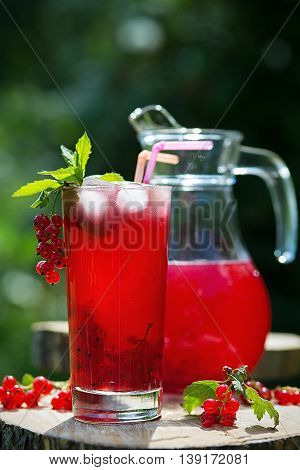 Glass and jug of redcurrant juice with mint and ice in a summer garden