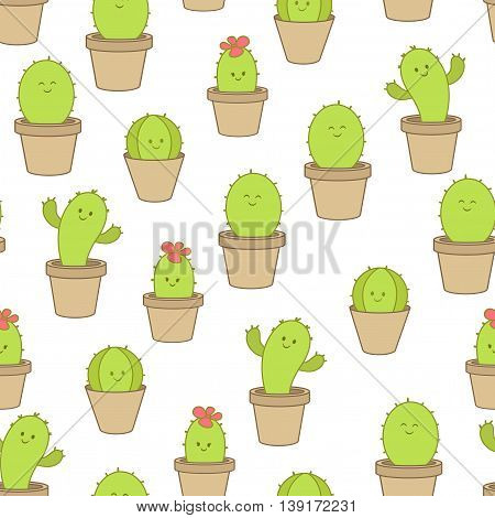 Cactus background. Vector seamless pattern. Endless texture can be used for wallpaper printing on fabric paper scrap booking.