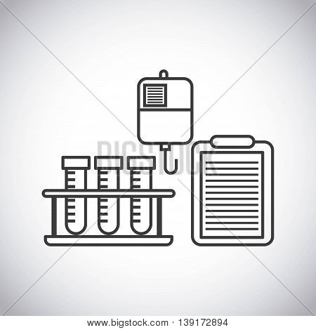 Medical and health care concept represented by tube bag medical history icon. Isolated and flat illustration.