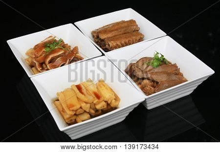White bento of Pork meat and ribs in Japanese style