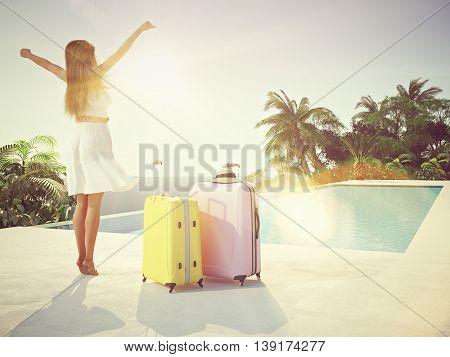 woman in luxury spa resort near the swimming pool. 3d rendering