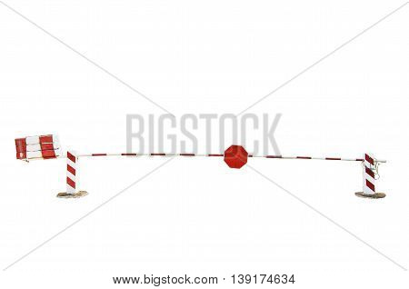 Red and white entrant barrier on white background.