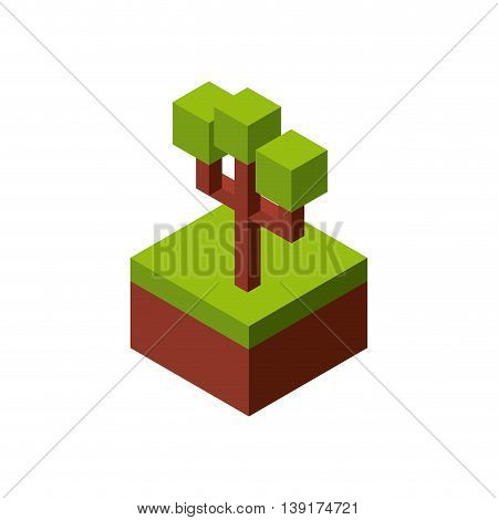 Isometric concept represented by green tree icon. Colorfull and geometric illustration.