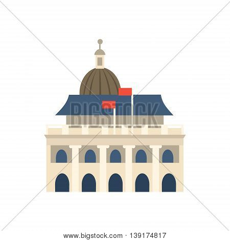 White Building In Hong Kong With Dome Flat Bright Color Primitive Drawn Vector Icon Isolated On White Background