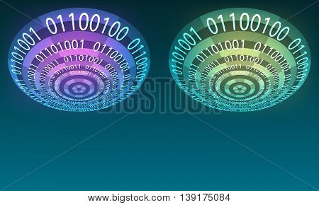 Futuristic abstract background with binary code and transparent circles