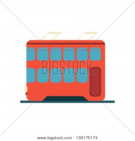 Chinese Tramway Flat Bright Color Primitive Drawn Vector Icon Isolated On White Background