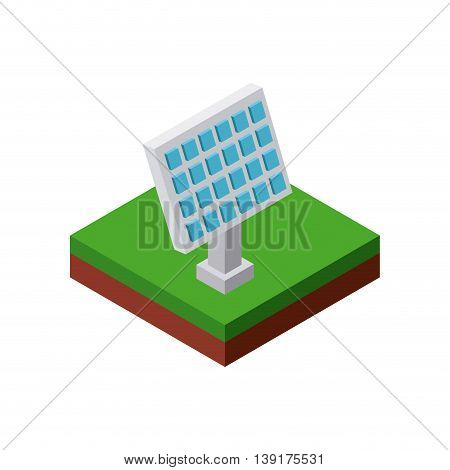 Isometric concept represented by solar panel icon. Colorfull and geometric illustration.