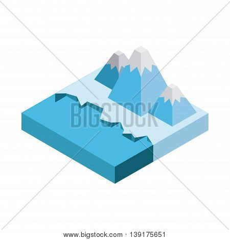 Isometric concept represented by iceberg mountain icon. Colorfull and geometric illustration.