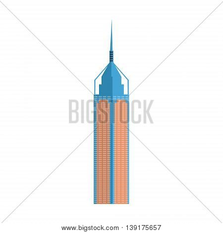 Modern Skscraper Hong Kong Building Flat Bright Color Primitive Drawn Vector Icon Isolated On White Background