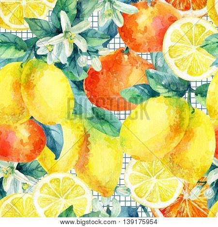 Watercolor mandarine orange and lemon fruit with leaves and blossom seamless pattern. Citrus tree background. Tangerine lemon leaf flower in retro style on cell grid. Hand painted illustration