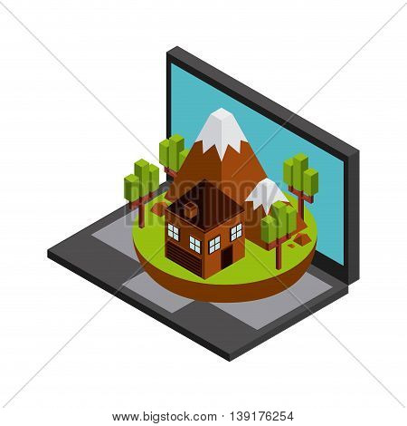 Isometric concept represented by laptop house mountain trees icon. Colorfull and geometric illustration.
