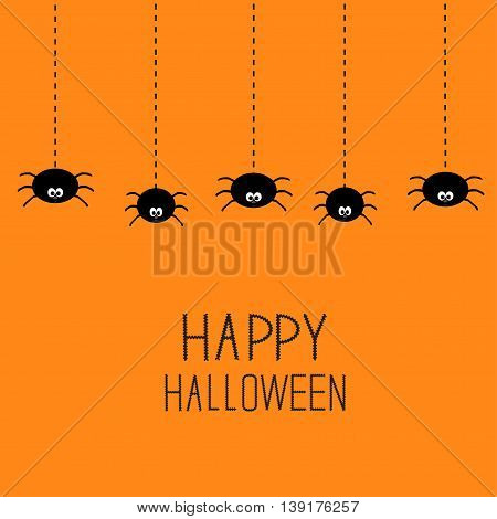 Hanging black spiders on dash line web. Happy Halloween card. Cute cartoon baby character set. Flat material design. Orange background. Vector illustration
