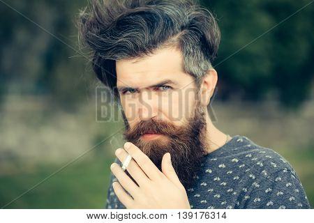 Bearded Man Smoking Cigarette Outdoor