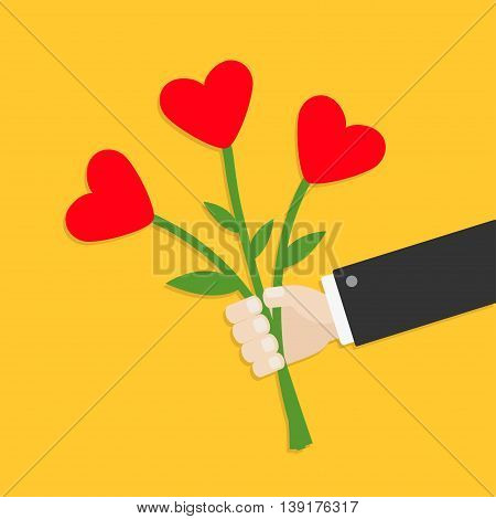 Businessman hand holding bunch bouquet of heart flowers. Yellow background. Flat design. Vector illustration