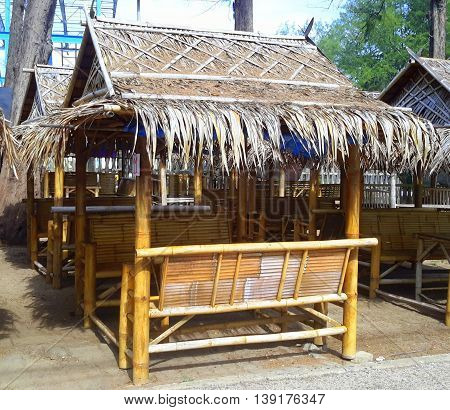 palm leaf thatch roof bamboo