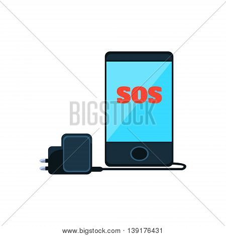 Smartphone With SOS Message On The Screen And Charger Flat Bright Color Primitive Drawn Vector Icon Isolated On White Background
