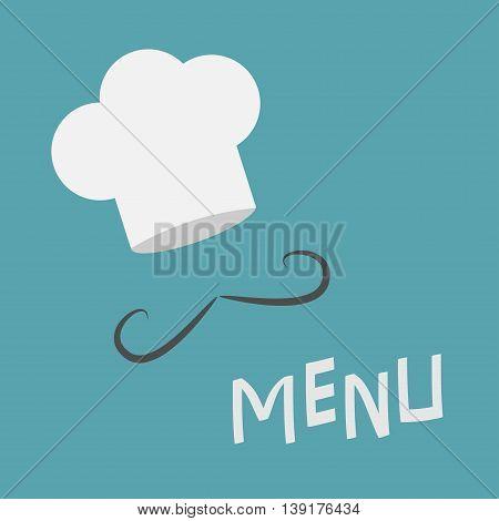 Chef hat and mustache. Menu card. Curl moustaches. Restaurant uniform. Flat design material style. Blue background. Vector illustration.