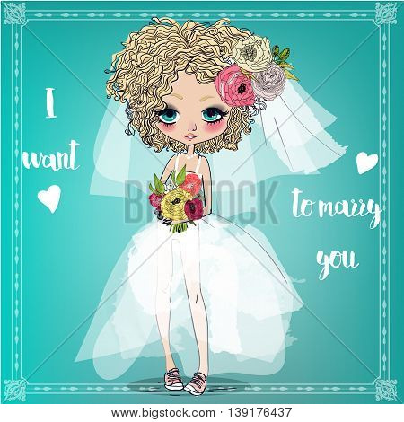 Greeting card for wedding. The bride and groom