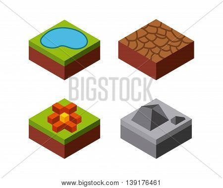 Isometric concept represented by lake stone flower grass desert icon. Colorfull and geometric illustration.