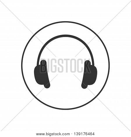 Headphones earphones with line round circle. Music card. Icon in Flat design style White background. Isolated. Vector illustration