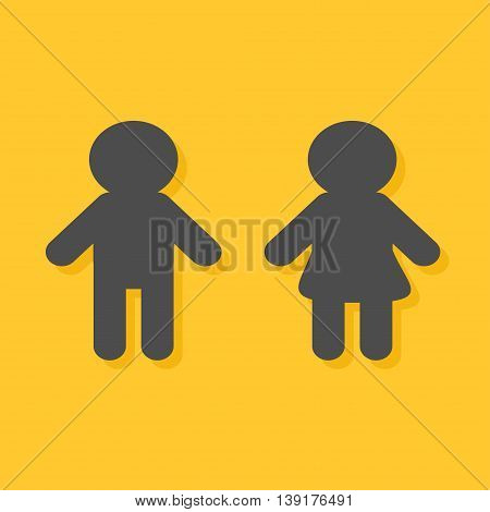 Man and Woman icon Male Female gender symbol. Restroom sign. Isolated Yellow background Flat design. Vector illustration