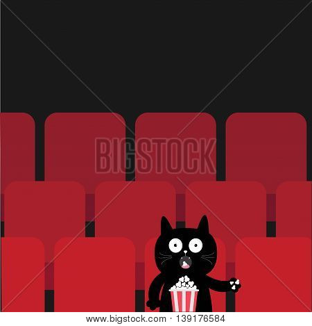 Cat sitting in movie theater eating popcorn. Cute cartoon character. Film show Cinema background. Viewer kitten watching movie. Red seats hall. Dark background. Flat design. Vector illustration
