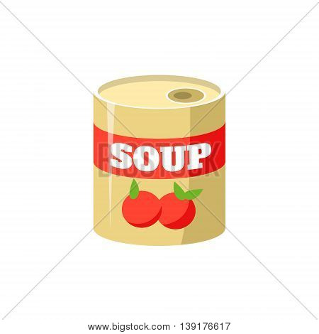 Tomato Soup In Can Flat Bright Color Primitive Drawn Vector Icon Isolated On White Background