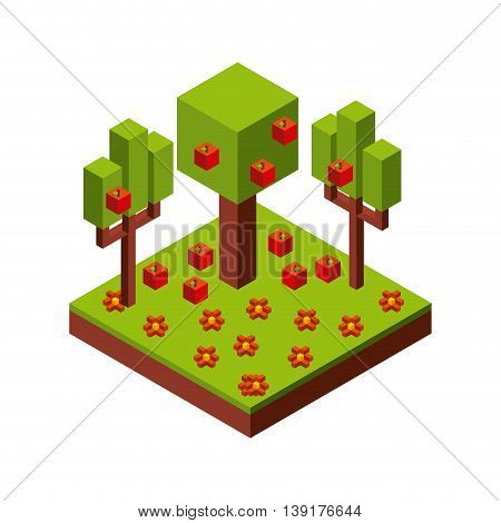 Isometric concept represented by green tree and apple icon. Colorfull and geometric illustration.