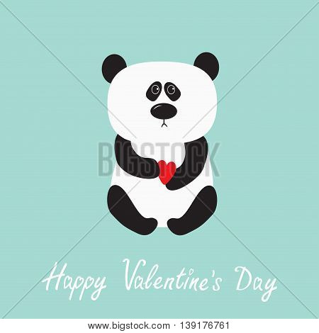 Panda baby bear. Cute cartoon character holding red heart. Wild animal collection for kids. Blue background. Happy Valentines day. Love greeting card. Flat design. Vector illustration
