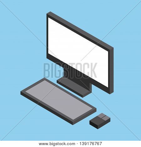 Isometric concept represented by computer icon. Colorfull and geometric illustration.